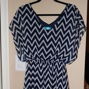 Chevron Navy/White Dress from Francesca's - Size L